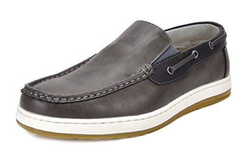BRUNO MARC NEW YORK Men's Pitts_10 Grey/BLK Penny Loafers Moccasins Boat Shoes Size 13