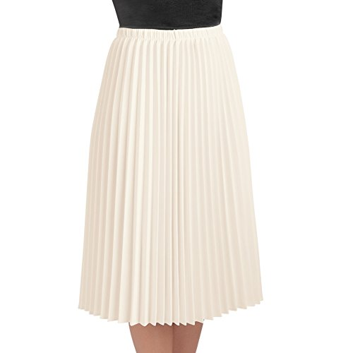 Women's Classic Pleated Mid-Length Jersey Knit Midi Skirt with Comfortable Elastic Waistband, Cream, Medium - Made in The USA