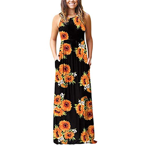Women's Floral Print Sleeveless Long Maxi Loose Dress Pocket Casual Beach Dress