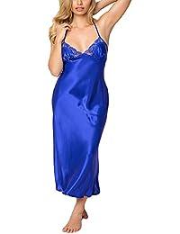 ba7ebfb8c1 Sexy Lace Babydoll Lingerie for Women Satin Bathrobes Silk Nightgown Long  Sleepwear