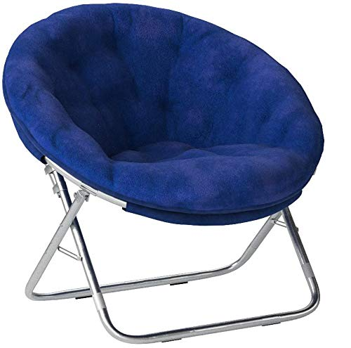 Mainstays Faux-Fur Saucer Chair, Soft, wide seat Foldable steel frame (Royal Spice)