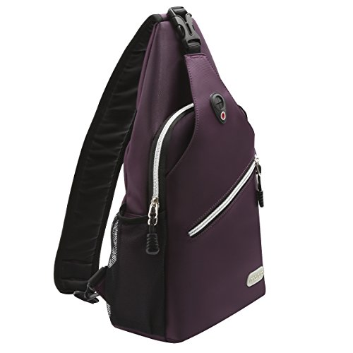 Mosiso Sling Bag, Polyester Water Repellent Durable Chest Shoulder Unbalance Gym Fanny Lightweight Crossbody Sack Satchel Outdoor Hiking Backpack for Men Women Girls Boys Travel Daypack, Purple