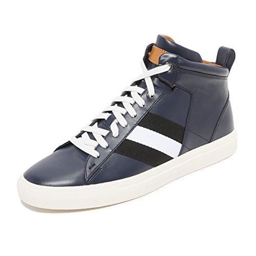 ZXD Dusslorf - Zapatillas Basket Altas De Vestir Oscuras Satinado Piel PU Sin Logo Bandas Decorativas Azul Navy