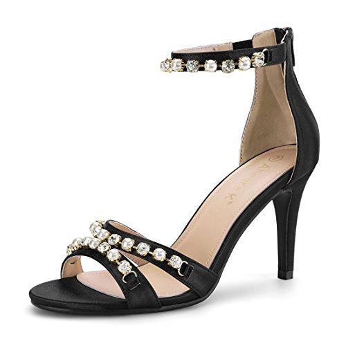 Allegra K Women's Rhinestone Pearls Ankle Strap Stiletto Heel Black Sandals - 7 M ()
