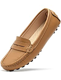 Women's Classic Genuine Leather Penny Loafers Driving Moccasins Casual Slip On Boat Shoes Fashion Comfort Flats