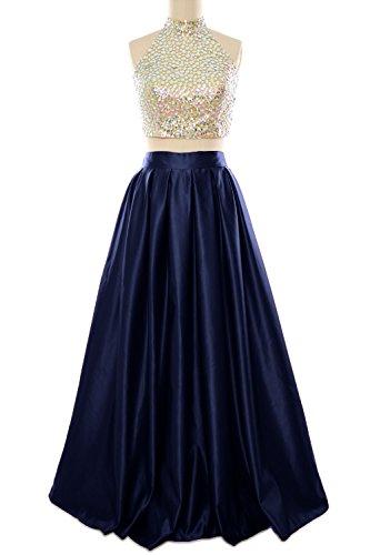 MACloth Women Two Piece High Neck Long Prom Homecoming Dress Evening Ball Gown Azul Marino Oscuro
