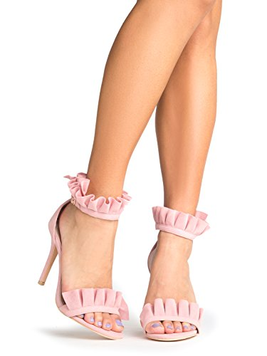 Lolli High Heeled Sandal, Baby Pink Suede, 8 B(M) US (Pink Shoes Sandals Heels)