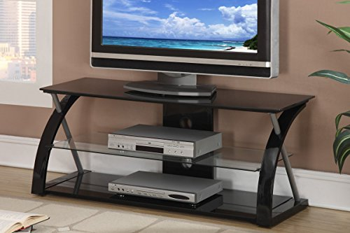 Poundex Metal and Tempered Glass TV Stand, Black