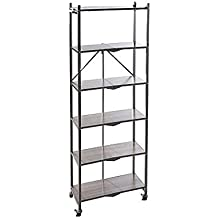 Origami R6-WB-Pltgry 6 Tier with Wood Shelves, Gray