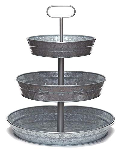 Rural HandiKraft - 3 Tier Serving Tray Galvanized (Large) - Handcrafted Premium Tray from India - Perfect for Party, Dessert, Fruit, Cupcake - Serving Tray with Sturdy Metal - Rust-Free Metal Stand]()