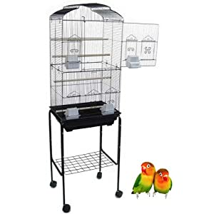 "Canary Parakeet Cockatiel LoveBird Finch Bird Cage With Stand --18""x14""x60""Black 10"