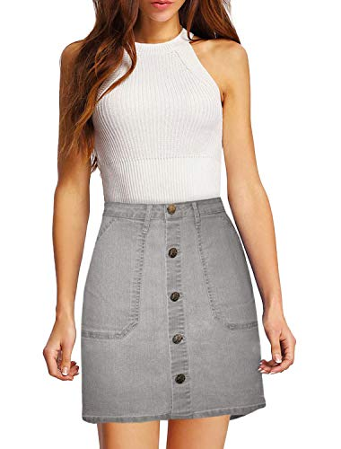 Lexi Womens Pull on Stretch Denim Skirt SKS48016 Grey 16 - Full Skirt Dress
