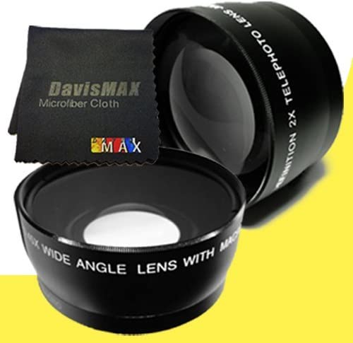DavisMAX Fibercloth Lens Bundle 58mm Wide Angle 2x Telephoto Lenses for Canon EOS Rebel T3i with Canon 85mm f// 1.8 EF USM Lens