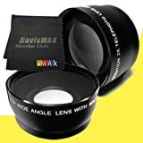 72mm Wide Angle + 2x Telephoto Lenses for Canon EOS 5D Mark II and Canon EOS 5D Mark III with Canon 50mm f/ 1.2 USM Lens + DavisMAX Fibercloth Lens Bundle
