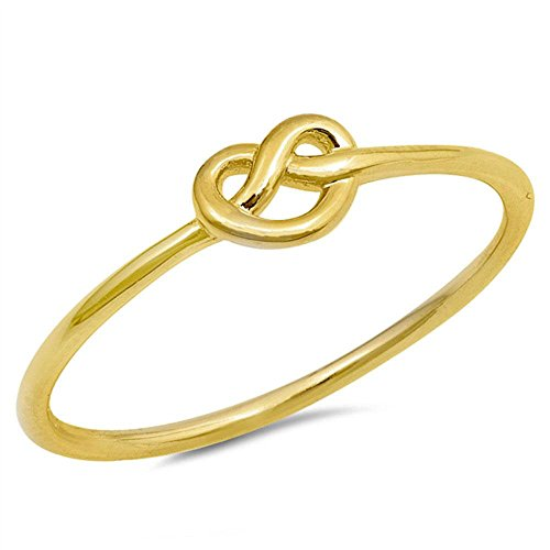 erling Silver Knot Ring (Yellow Tone Heart Knot-Size 11) (Celestial Ring)