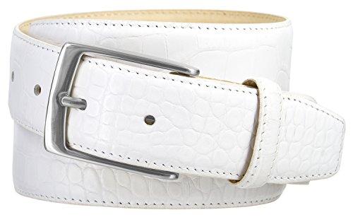 Joseph Nickel Finish Buckle Italian Leather Alligator Dress Belt 1-3/8 Wide (Alligator White, 42) (Alligator White Embossed Finish)