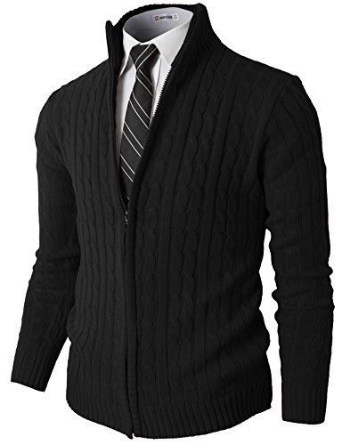 H2H Mens Slim Fit Full-Zip Kintted Cardigan Sweaters with Twist Patterned Black US M/Asia L (KMOCAL032) ()