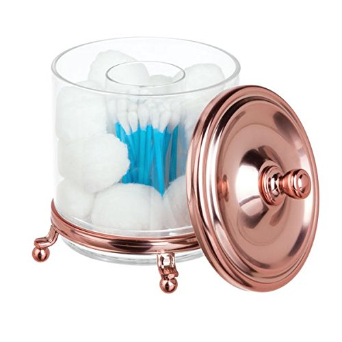 mDesign Cotton Swab/Ball Holder Canister Bathroom Vanity Counter Top - Rose Gold/Clear