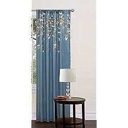 Lush Decor C01264Q12 Flower Drop Curtain Panel, Blue