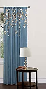 (Curtain, Blue) - Lush Decor Flower Drop Window Curtain Colour: Blue