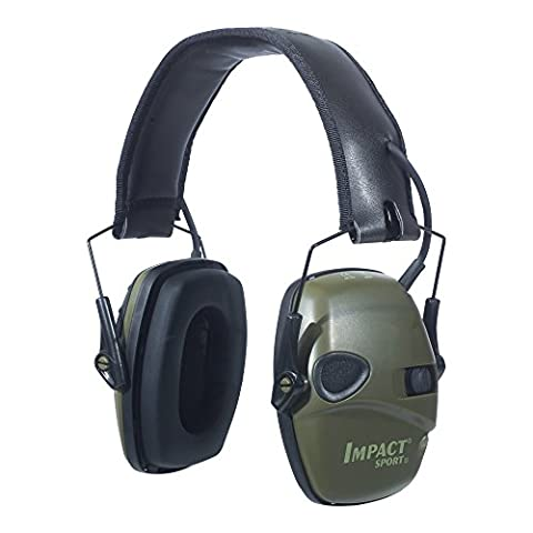 Howard Leight by Honeywell Impact Sport Sound Amplification Electronic Earmuff, Green (R-01526)