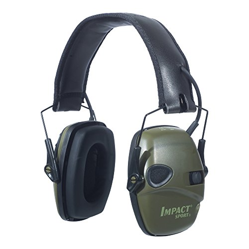 Howard Leight by Honeywell Impact Sport Sound Amplification Electronic Earmuff, Classic Green - Black Elect Range