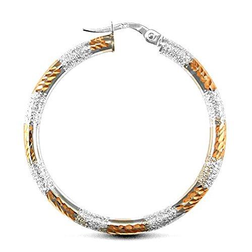 9ct or blanc et or rose au gel & Boucles d'oreilles créoles Coupe Diamant