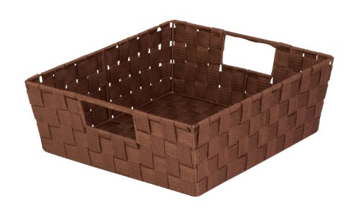 Honey-Can-Do STO-03049 Woven Tray Shelf Tote with Handles, Java Brown ()