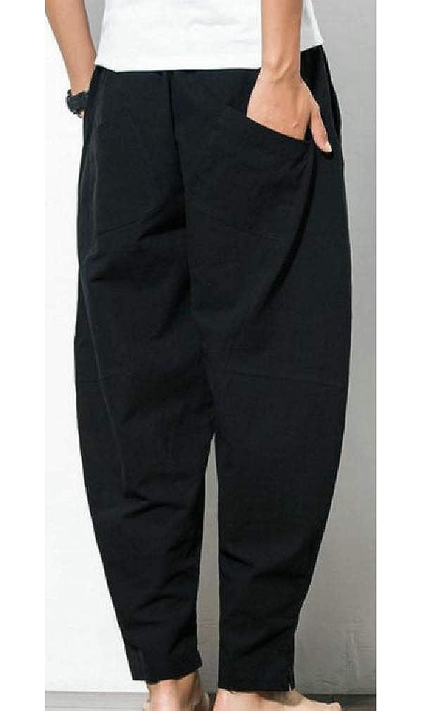 pipigo Mens Plus Size Linen Elastic Waist Baggy Drawstring Pants with Pocket