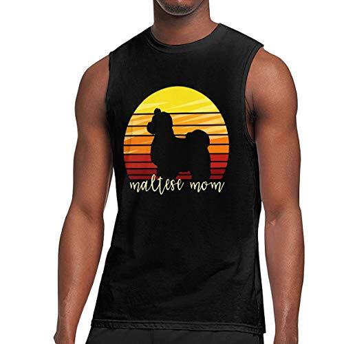 JohnKi01 Mens Maltese Mom Dog Sleeveless T-Shirt Cotton Running Bodybuilding Tank Tops Black