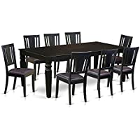 East West Furniture LGDU9-BLK-LC 9 Piece Dining Table and 8 Leather Chairs, Black