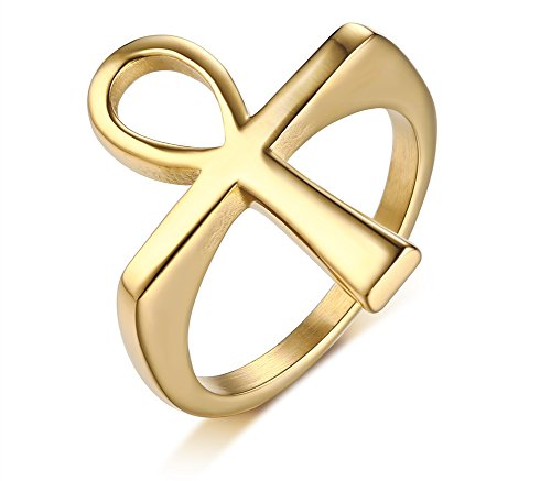 MPRAINBOW Ankh Cross Stainless Steel Ring Sterling Gold Men - Ankh Gold Ring