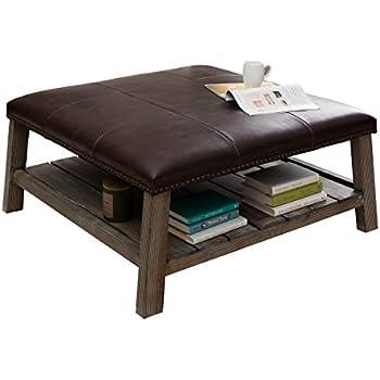Amazoncom Antonio Vintage Tobacco Leather Coffee Table Solid Wood - Rustic leather ottoman coffee table