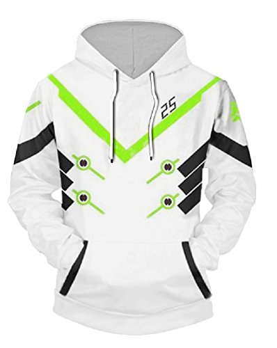 JW 3d Fashion Hoodies Game Ow Costume Genji Cosplay Sweatshirt Casual White and Black Pocket Jacket Sweats Hooded Pullovers ()