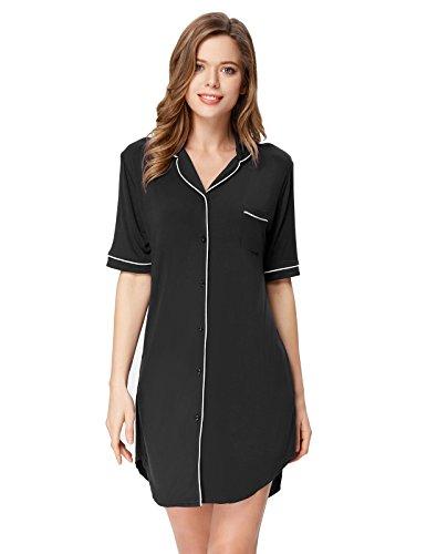 Zexxxy Women Black Button Down Nightshirt Soft Lightweight Loose Fit Sleep Tee M
