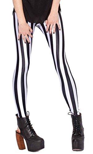 Sister Amy Women's High Waist Geometric Printed Ankle Elastic Tights Leggings Black/White Stripes US M