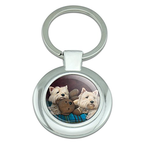 Westie West Highland White Terrier Dogs Teddy Bear Classy Round Chrome Plated Metal Keychain ()