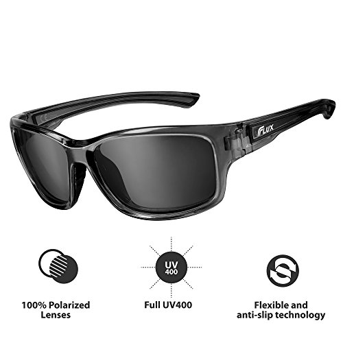 Flux Polarized Sports Sunglasses with Anti-Slip Function and Light Frame - for Men and Women when Driving, Running, Baseball, Golf, Casual Sports and Activities: - For Heads Small Sunglasses Men