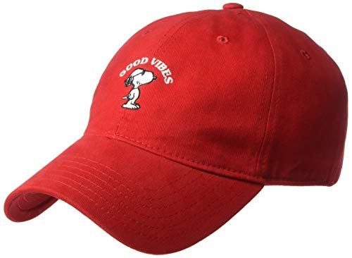 Peanuts Men's Snoopy Good Vibes Baseball Cap, Red, One Size