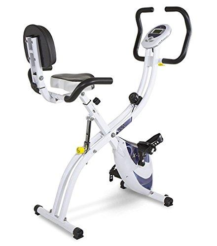 Tecnovita by BH X-TRI2 YF910. Maximum comfort, minimum space. Foldable home fitness bike. Folding exercise bike. Workout bicycle. 3 positions. 8 intensities. Ergonomic seat. LCD monitor. White