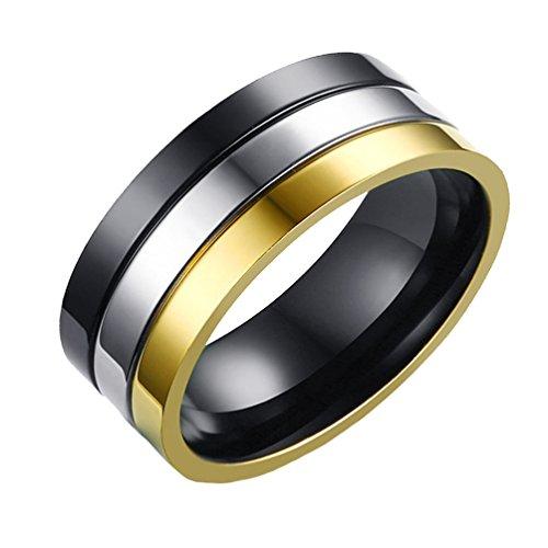 ffd69537cf4f 85% OFF HIJONES Acero inoxidable para hombre 8MM Oro negro Características  originales Anillo liso