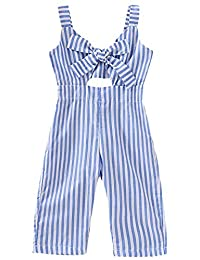 SUPEYA Baby Girls Sleeveless Stripe Print Rompers Backless Ruffle Jumpsuit Outfits