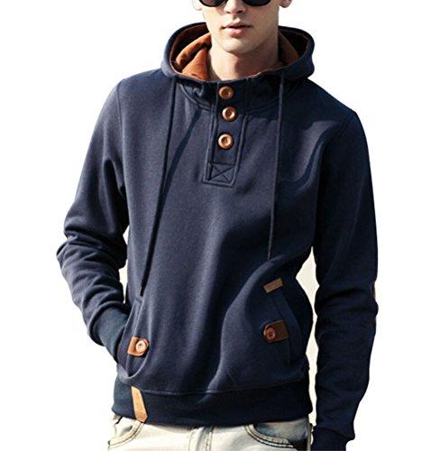 Daysoft Men's Pullover Hoodie With Fleece Linings (L, dark blue)