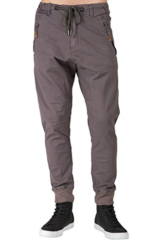 Level 7 Men's Drop Croth Premium Charcoal Stretch Twill Jeans with Zipper Pockets Size 36 ()