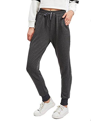 SweatyRocks Women's Sweatpants Yoga Workout Athletic Joggers Pants with Pockets (Medium, Dark Grey)