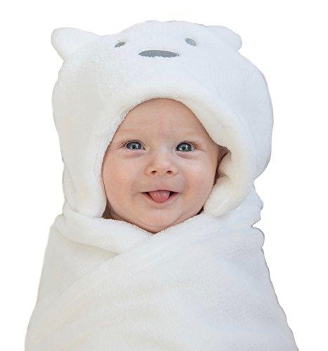 Hooded Baby Blanket (Baby Swaddle Blanket Wrap Unisex for Boys Girls Newborn Infant, Antibacterial Skin Friendly, Thick Blanket 35inch Long 29inch Large Color White Bear Design Fleece Material Premium by LurddesLurddes)