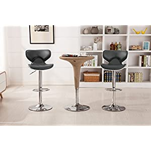 Roundhill Furniture Masaccio Cushioned Grey Leatherette Upholstery Airlift Swivel Barstool (Set of 2)