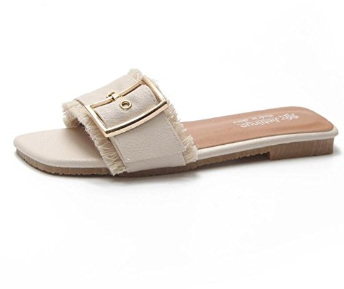 cuadradas Beige Mujer Zapatillas para W6LDiJLddl Dedo de qw7UOqYxt