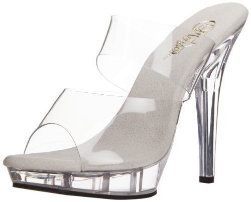 - Pleaser Women's Lip-102 Sandal,Clear/Clear,8 M US