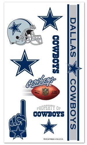 Dallas Cowboys 10 Pack Temporary Tattoos NFL Face CDG Dallas Laptop Phone Window Fridge Book Cowboys Logo Sticker Decal
